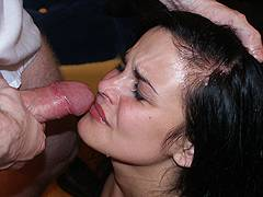wife forced blowjob cum