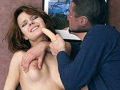 girl pukse giving forced oral