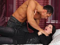 black fat milf forced blowjob with son